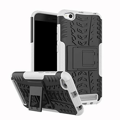 pinlu® Funda para Xiaomi Redmi 5A Smartphone Doble Capa Híbrida Armadura Silicona TPU + PC Armor Heavy Duty Case Duradero Protección Neumáticos Patrón Blanco