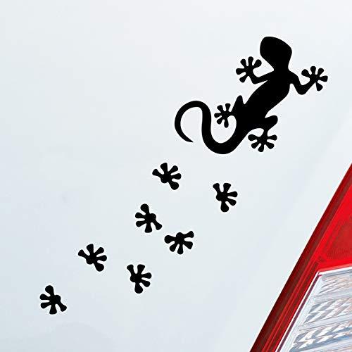 Auto Aufkleber in deiner Wunschfarbe Salamander Agame Echse Lizard Fußspuren 20x6cm Autoaufkleber Sticker Folie
