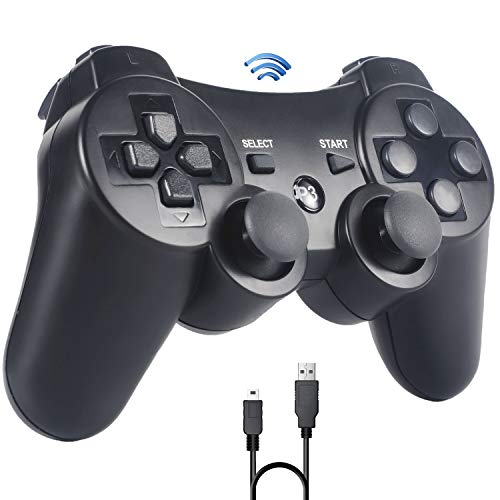 PS3 Controller,Sefitopher Wireless Controller für Playstation 3 Bluetooth Gamepad mit Double Shock, Ladekabel
