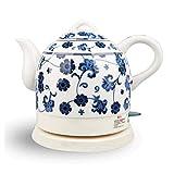 YSkettle Bollitore Elettrico Ceramica Cordless Blu e Porcellana Bianca Bollitore Teiera 1.5L Brocca Bolle d'Acqua Veloce per tè e caffè zuppa di Farina d'avena Dente di Leone