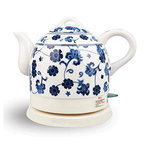 YSkettle Tetera eléctrica Cerámica Inalámbrico Azul y Blanco Porcelana Tetera Tetera 1.5L Jarra hierve el Agua rápidamente para el té Sopa de café Avena Diente de león
