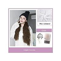 ナチュラル接続髪合成のBlack Hatカーリーヘアストレートヘアウィッグ弾性ニット帽子ウィッグ耐熱女性、2I308,22Inches