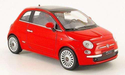 Fiat 500, rot, 2007, Modellauto, Fertigmodell, Welly 1:24