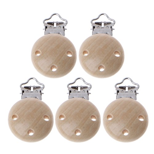 Cuigu 5 Stück / Set aus Holz Schnullerkette für Babys, Schnuller, Schnuller, Kette, Verschlüsse, Zubehör