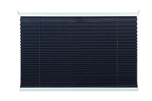 mydeco Plissee grau ohne Bohren 80 cm breit, verspannt, Jalousie Rollo -Komplettset- mit doppelten Stoff (Wabe), 80x130 cm