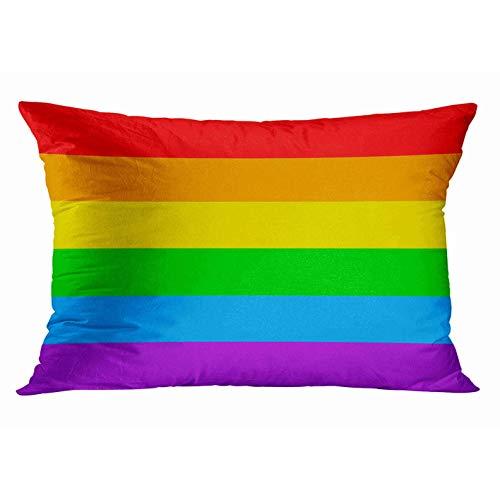 N / A Federe Home Decor Federa per Cuscino LGBT Gay Pride 6 Stripe Rainbow Federe Decorative Federe per Cuscini Fodere per Cuscini Divano 50X75 Cm