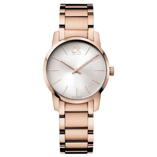 Calvin Klein Damen Analog Quarz Uhr mit Edelstahl beschichtet Armband K2G23646