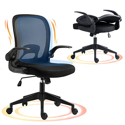 Office Chair, AIFFERA Ergonomic Swivel Desk Mesh Chair with Adjustable Height Arm Rest - Lumbar Support - Upholstered Back for Home (Black)