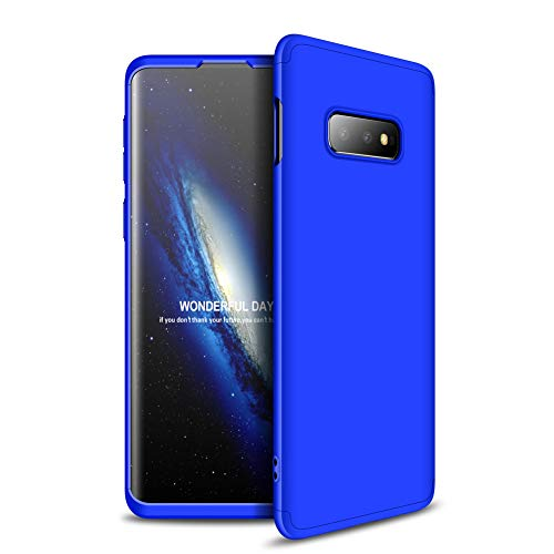 yanzi Funda Samsung Galaxy S10E Funda Carcasa Silicona Cover Caso Samsung Galaxy S10E Fundas Azul 3 in 1 Smartphones Accesorios Vidrio Templado Protector Samsung S10E Carcasa