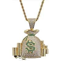 Hombres Hip Hop Collar Dólar $ Símbolo Bolsa de dinero Moneda Colgante Micro-incrustaciones de circón con cadena de 60cm -18k Joyas chapadas en oro para el presente-gold