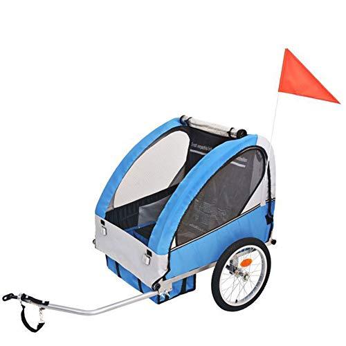 HBIAO Child Bike Trailer, 2-in-1 Children Bike Trailer 2-Seater children steel frame seat carrier for 2 Kids Childs Bicycle Trailer