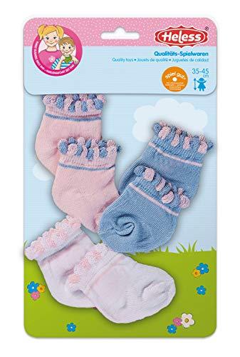 Heless 170 - Söckchen für Puppen, in den Pastellfarben weiß, rosa und blau, 3 Paar, Größe 35 - 45