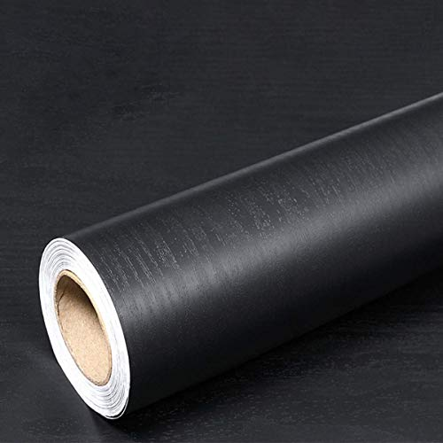 Hode Papel Adhesivo para Muebles Negro Grano de Madera 30cm X 200cm Vinilo para Muebles Cocina Impermeable Papel Pintado Decorativa Gabinete Mesa Armario Pared