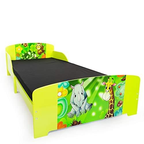 Homestyle4u 1212, Kinderbett 90x200 cm, Spielbett Dschungel Tiere, Holz Grün Bunt