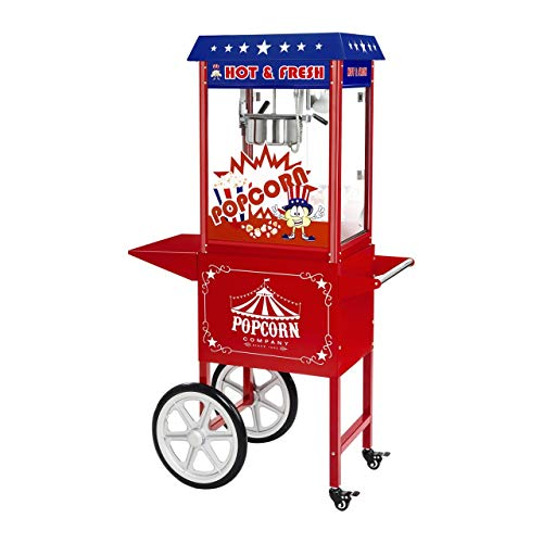 Royal Catering RCPW-16.1 Popcornmaschine Popcorn Maker Popcorn Bereiter Retro Vintage mit Wagen USA Design
