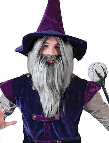 Das Kostümland Zauberer Wizard Perücke mit Bart - Tolles Set für Herren