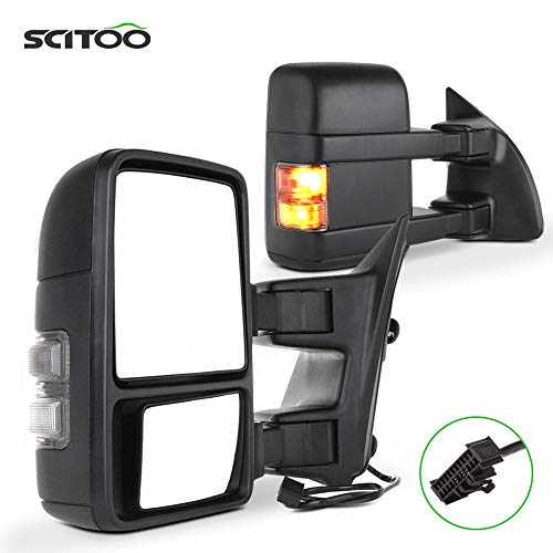 SCITOO Towing Mirrors fit for Ford Automotive Exterior Mirrors fit 1999-2016 for Ford F250 F350 F450 F550 Super Duty with Amber Turn Signal Manual Controlling Telescoping and Folding Features