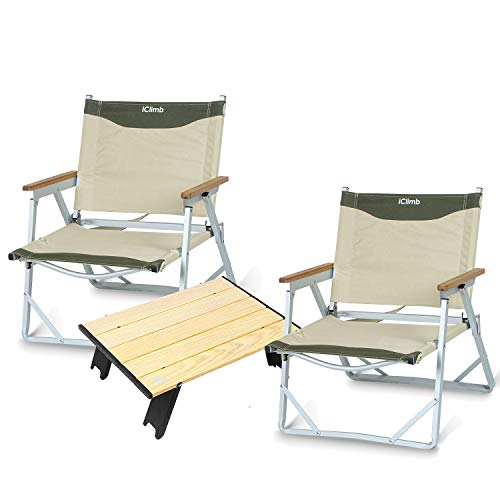 iClimb 2 Ultralight Low Beach Chair with 1 Beach Table Buddle for Two Adults