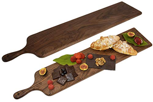 Real Black Walnut Wood Cheese Board with Handle by Walux (29.5