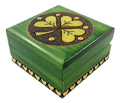 Small Green Laser Engraved Celtic Shamrock Wooden Box with Heart Accents, 2 3/4 Inch