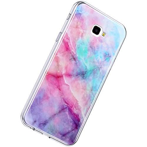 Herbests Compatible avec Samsung Galaxy J4 Plus 2018 Coque Silicone Housse Case TPU Bumper Coquille Coloré Peint Cover Marble Caoutchouc Phone Case Ultra Mince Flexible Souple Étui,Poudre