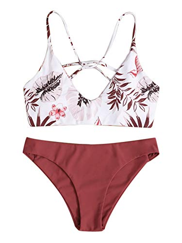 SweatyRocks Women's Sexy Bathing Suit Leaf Print Criss Cross Back Bikini Set Swimsuits Burgundy-2 L