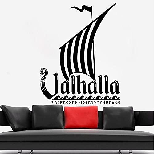 Pegatinas de Pared de Barco Dakar Vikingo decoración del hogar Estilo de la Edad Media Mural artístico Pegatina de Barco de Vela Retro Dormitorio decoración de Sala de Estar