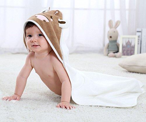 Serviette de bain bebe, Chickwin Cute Animal 100% coton naturel Wrap Gant de toilette doux pour bébé douche après bain Cuddle 'n sec, grand 80 * 80 cm Taille (Blanc)