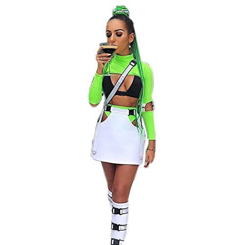 Damen Zweiteiliges Oberteil mit Schnalle vorne und Bralette Neckholder Bandeau-BH mit hoher Taille für Rave-Festivals Clubwear - Grün - Medium