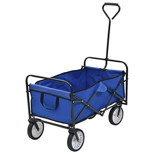Festnight Carrito Plegable/Mano Carro/Carro para pícnic/Carrito de Jardín Plegable, Azul 92 x 52 x 118 cm Carga Máxima 75 kg