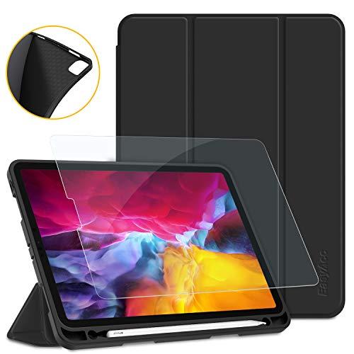 EasyAcc Hülle + Panzerglas Kompatibel mit iPad Pro 11 2020 mit Stifthalter, Ultra Dünn Smart Cover Schutzhülle, Auto Schlaf/Aufwach Funktion PU Leder Hülle, Schwarz