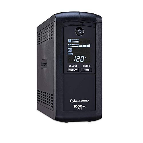 CyberPower CP1000AVRLCD Intelligent LCD UPS System, 1000VA/600W, 9 Outlets, AVR, Mini-Tower Black
