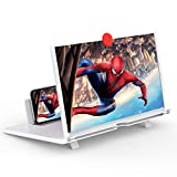 12' Screen Magnifier –3D HD Mobile Phone Magnifier Projector Screen for Movies, Videos, and Gaming–Foldable Phone Stand with Screen Amplifier–Supports All Smartphones(White)