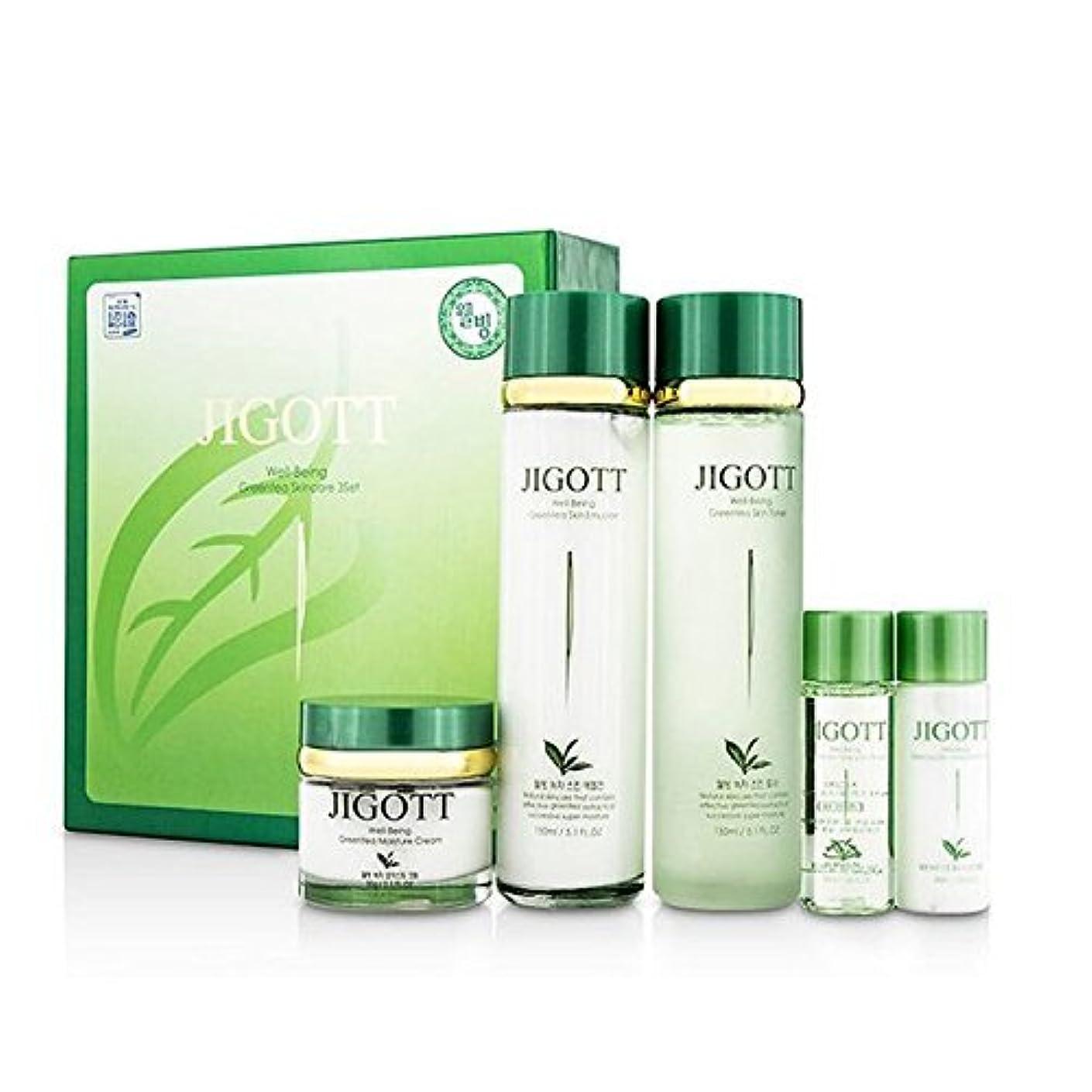 ジゴトゥ[韓国コスメJigott]Well Being Greentea Skin care ウェルネス緑茶スキンケア3セット,樹液,乳液,クリーム [並行輸入品]