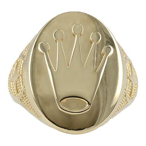 Gioiello Italiano - Anillo'Corona' de hombre en oro amarillo de 14 quilates, talla 25
