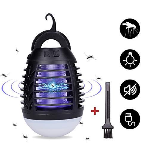 Lampada Anti-zanzara Portatile con Luce da Campeggio Lampada Anti-zanzara 2200mAh USB Ricaricabile Assassino di Zanzara All'aperto con IP66 Impermeabile e 3 Luminosità della Luce per Campeggio, Pesca