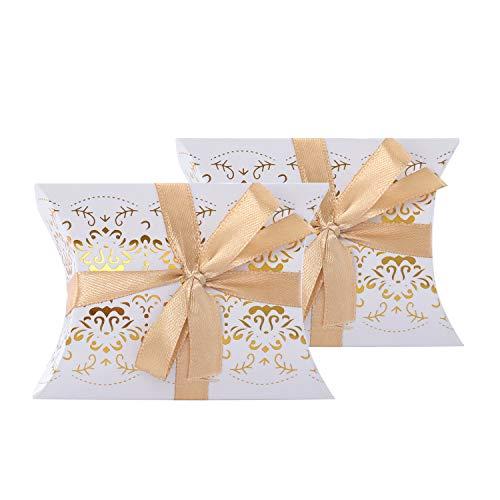 Wolfteeth 50 cajas con cintas para confites, bomboneras de regalo para señalar sitios, para bodas, cumpleaños, bautizos, comuniones, graduaciones, forma de cojín con impresión de bronce 789001