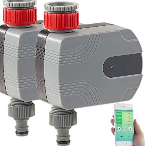 Royal Gardineer Wasserhahn, Bluetooth: 2er-Set Bewässerungscomputer mit Bluetooth und App-Steuerung (Bewässerungscomputer App gesteuert)