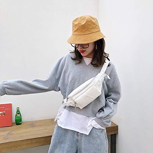 HMG Moda Bolsa con Cremallera de la Bolsa de Mensajero del Hombro del Color sólido de la Letra A de la PU Individual Informal de la Cintura Bolsillos en el Pecho Bolsa (Negro) (Color : White)