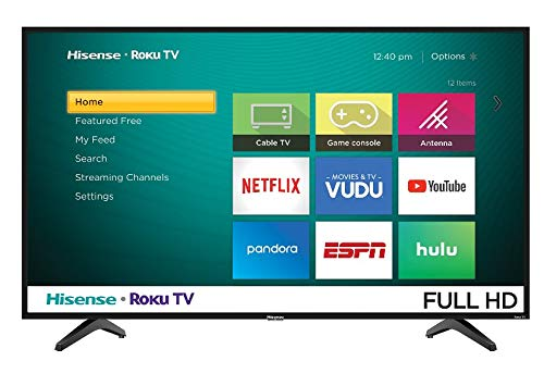Hisense 43 pulgadas Smart TV con Sistema Operativo Roku Ultra Alta Definición Pantalla Wi-Fi LED 1080P con Puertos HDMI USB RF Antena Audio Video (Renewed)