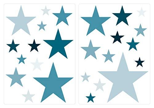 dekodino® Wandtattoo Sterne Petrol Set blau Kinderzimmer Deko