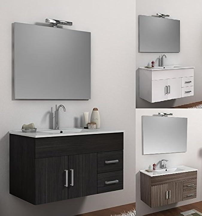 Mobile arredo bagno isa cm 100 bianco wengè o larice con lavabo in ceramica sospeso mobili Mob100