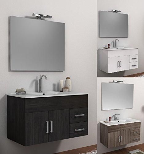 Bagno Italia Mueble de baño decoración Isa 100 cm, suspendido, Blanco wengue...