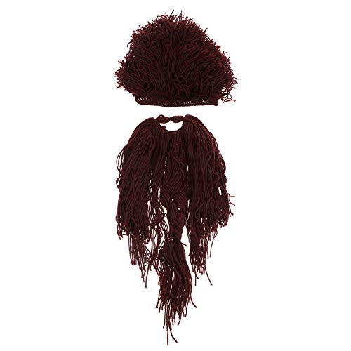 PRETYZOOM Pillager Beard Wig Set Woolen Yarn Knitted Mustache Barbarian Vagabond Wig Cap Viking Cosplay Headwear for Masquerade Party Coffee