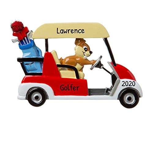 Personalized Golf Cart Christmas Tree Ornament 2020 - Player Professional Member Hobby Caddy Amateur Lover Clubs Flag Cylindrical Year Man Profession Squirrel Car Golfing Vehicle - Free Customization