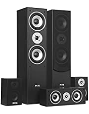 AUNA Surround Speaker Box Set - Surround Sound System , Sistema Home Theater , Bass Reflex Chassis , 335 W RMS , Max. Potenza di 1.150 W , Possibilità di montaggio a parete , 5 box , Nero