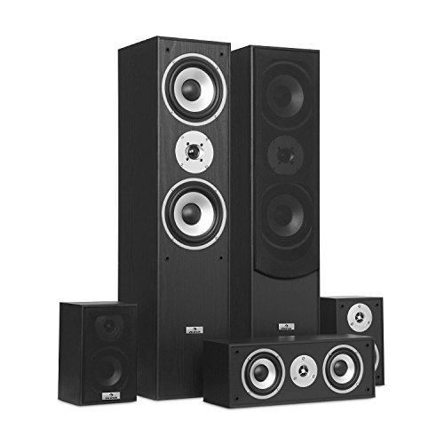 AUNA Surround Speaker Box Set - Surround Sound System , Sistema Home Theater , Bass Reflex Chassis , 335 W RMS , Max. Potenza di 1.150 W , Possibilità di montaggio a parete , 5 box , Nero