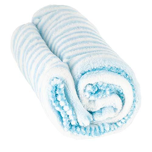 Bieco Baby Kuscheldecke Fleece   Blau Weiß Gestreift   Flauschige Decke   Kuscheldecke Baby   Kinder Kuscheldecke   Dünne Decke Flauschig   Baby Blanket   Kuscheldecke Kinder