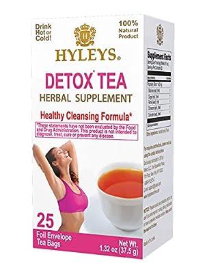 HYLEYS Tea Wellness Detox Green Tea Mint - 25 Tea Bags (100% Natural, Sugar Free, Gluten Free and Non-GMO),
