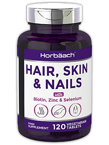 Hair, Skin & Nails Supplement | 120 Vegetarian Tablets | with Biotin, Zinc & Selenium | + Vitamin C & E | Non-GMO, Gluten Free